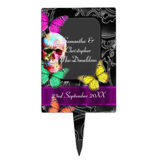 Fantasy Gothic sugar skull  wedding Cake Topper