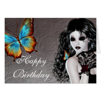 Fantasy Gothic Woman with Butterfly Birthday Card