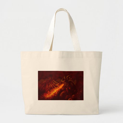 Fantasy Great Red Dragon Breathing Fire Canvas Bags