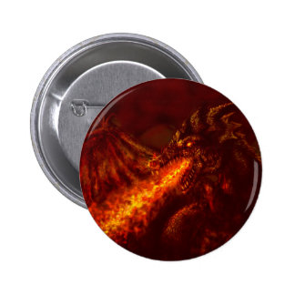 Fantasy Great Red Dragon Breathing Fire Pinback Button