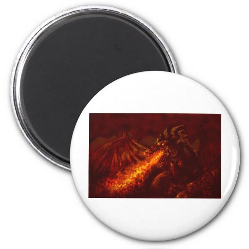 Fantasy Great Red Dragon Breathing Fire Magnet