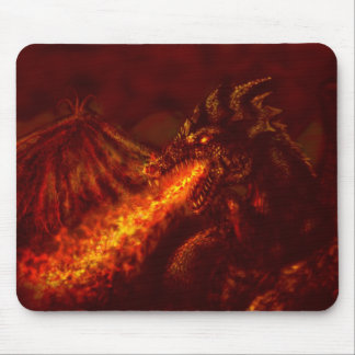 Fantasy Great Red Dragon Breathing Fire Mouse Pad