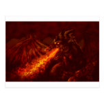 Fantasy Great Red Dragon Breathing Fire Postcard