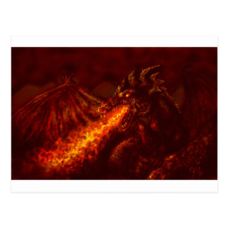 Fantasy Great Red Dragon Breathing Fire Post Card