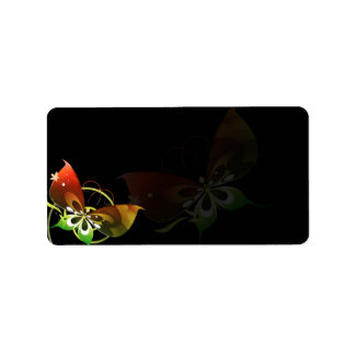 Fantasy green and red butterfly label