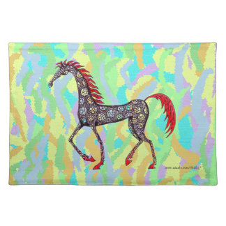 Fantasy horse pen ink drawing placement mat design