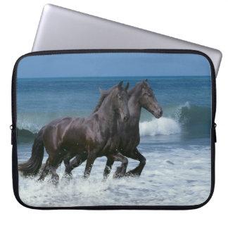 Fantasy Horses: Friesians & Sea Laptop Sleeve