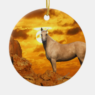 Fantasy Horses: Mountain Double-Sided Ceramic Round Christmas Ornament