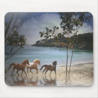 Fantasy Horses Running on the Beach Mouse Pad