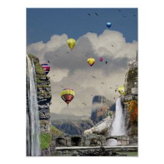 Fantasy hot air balloon art poster