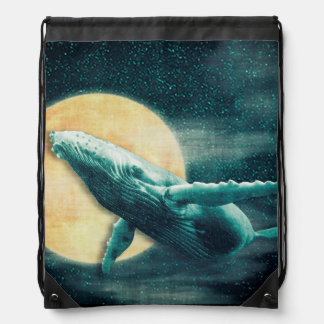 Fantasy Humpback Whale Flying to The Moon Backpack