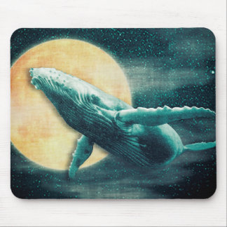 Fantasy Humpback Whale Flying to The Moon Mousepad