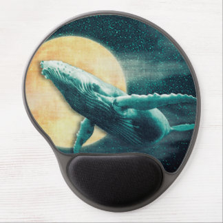Fantasy Humpback Whale Flying to The Moon Mousepad Gel Mousepad