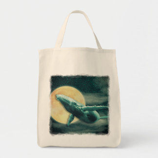 Fantasy Humpback Whale Flying to The Moon Tote