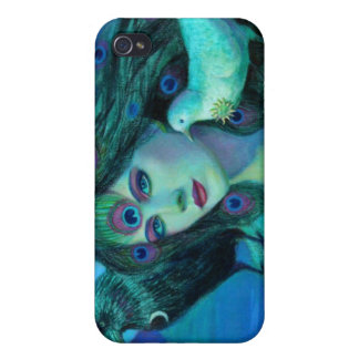 Fantasy iphone 4 case Crow & peacock feathers lady