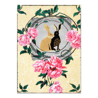 Fantasy Jackrabbit Hares Rose Romantic Collage Card