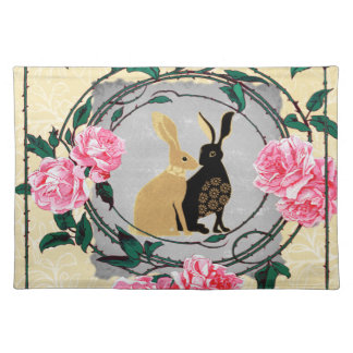 Fantasy Jackrabbit Hares Rose Romantic Collage Cloth Placemat