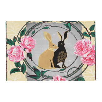 Fantasy Jackrabbit Hares Rose Romantic Collage Placemat
