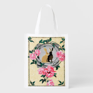 Fantasy Jackrabbit Hares Rose Romantic Collage Reusable Grocery Bag