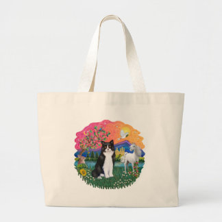 Fantasy Land (ff) - Black and white cat Large Tote Bag