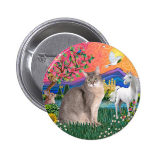 Fantasy Land (ff) - Blue Abyssinian cat Button