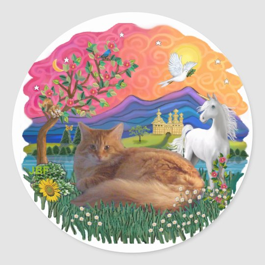 Fantasy Land (ff) - Maine Coon cat (red) Classic Round Sticker