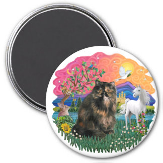 Fantasy Land (ff) - Persian Tortie cat 18 3 Inch Round Magnet