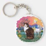 Fantasy Land (ff) - Tortie Calico cat Keychain