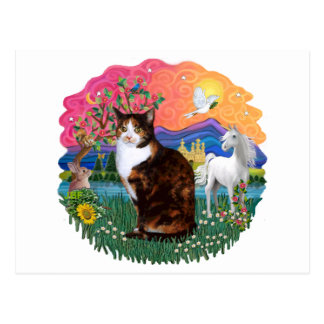 Fantasy Land (ff) - Tortie Calico cat Postcard