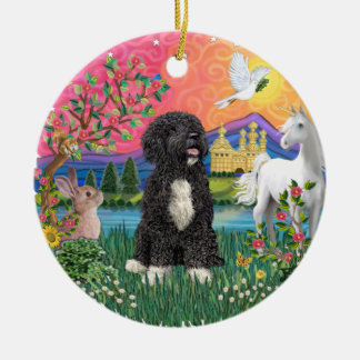 Fantasy Land - Portuguese Water Dog #5 (bw) Double-Sided Ceramic Round Christmas Ornament