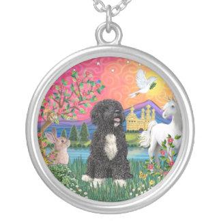 Fantasy Land - Portuguese Water Dog 5bw Round Pendant Necklace