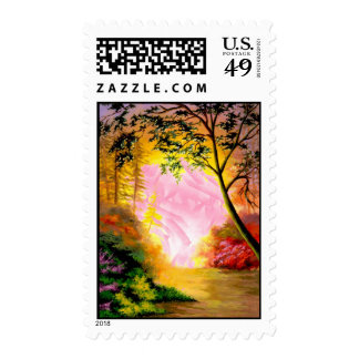 Fantasy Landscape Digital Painting - Postage Stamp