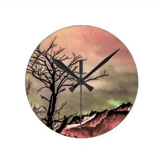 Fantasy Landscape Illustration Round Clock