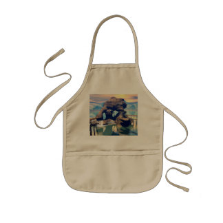 Fantasy landscape with a rock in the ocean kids' apron