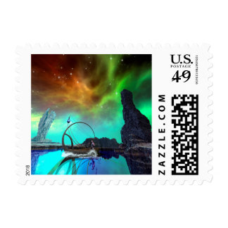 Fantasy landscape with awesome sky stamp
