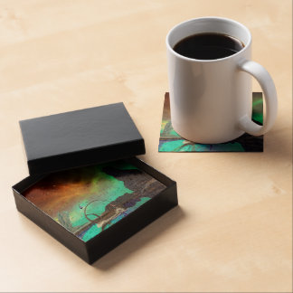 Fantasy landscape with awesome sky drink coasters