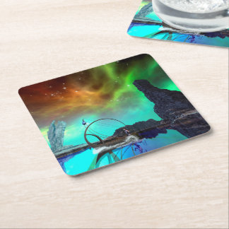 Fantasy landscape with awesome sky square paper coaster