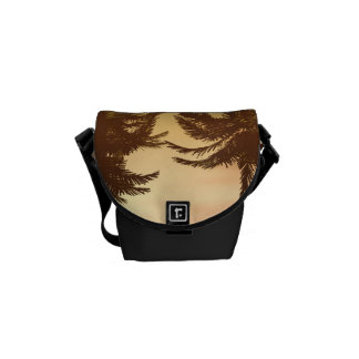 Fantasy landscape with beautiful sunset messenger bags
