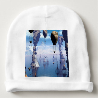 Fantasy landscape with fish house and zeppelin baby beanie