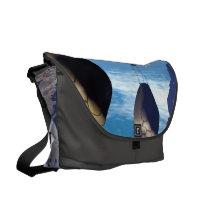 Fantasy landscape with fish house messenger bag