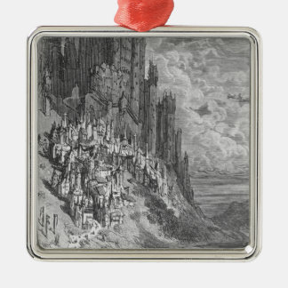 Fantasy landscape with town and castle metal ornament