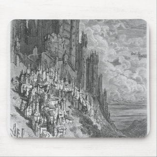 Fantasy landscape with town and castle mouse pad