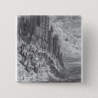 Fantasy landscape with town and castle pinback button