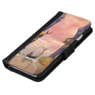 Fantasy lanscape with lamp boat iPhone 6 wallet case