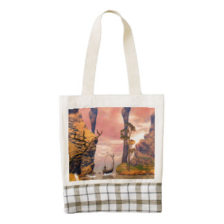 Fantasy lanscape with lamp boat zazzle HEART tote bag