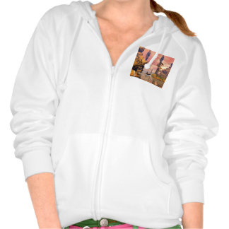 Fantasy lanscape with lamp hooded pullover