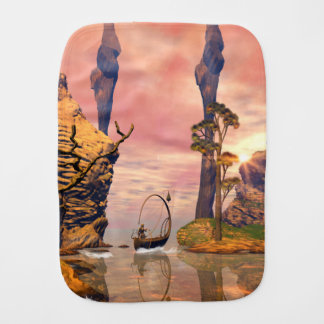 Fantasy lanscape with lamp burp cloth