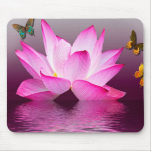 Fantasy Lotus Flower with Butterfly Mouse Pad