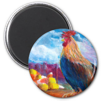 Fantasy Make Believe Chickens and Candy Corn 2 Inch Round Magnet