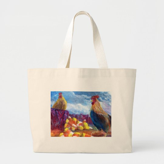 Fantasy Make Believe Chickens and Candy Corn Large Tote Bag